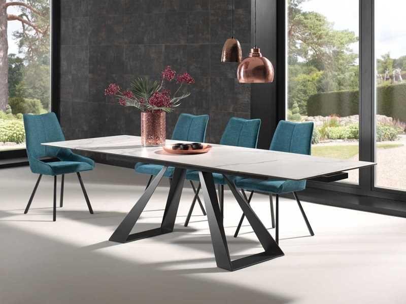 Escape A Une Table Extensible Absolument Exceptionnelle Le Plateau En Ceramique Est Propose En 3 Coloris Anthracite Marbre Gris Clair Marbre Ou Blanc Vei
