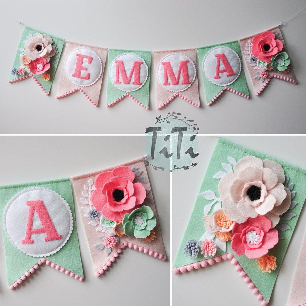 Personalized felt baby pennant banner name Custom Boho decor Bohemian Nursery Mint and pink  Flags banner Pennant Banner Felt flowers