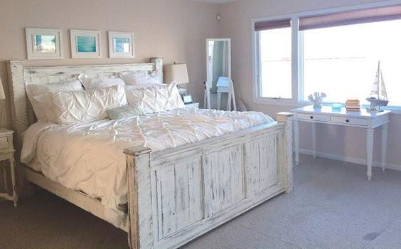 Bed frame painted white available in King size, Queen size ...