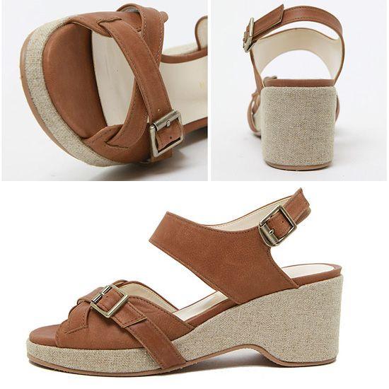 Belt wedge sandals $125.00