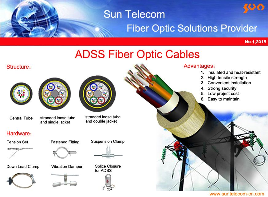 Adss Fiber Optic Cables Feature Fiber Counts Up To 144 A Dry Core Design And The High Tension Strength Capability Required Fiber Optic Cable Fiber Optic Fiber