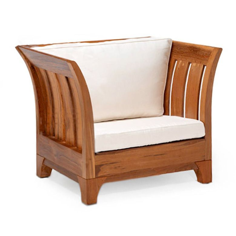 Teak Club Chair Curved Outward Wooden Slats 145