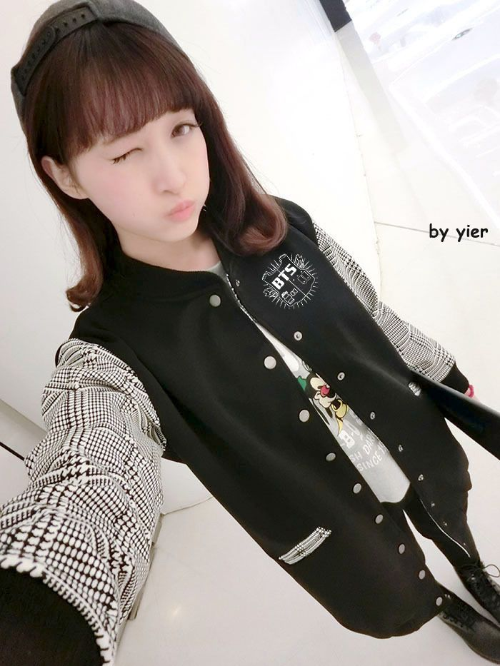 (Buy here: http://appdeal.ru/sco ) Kpop bts bangtan boys single breasted medium long baseball jacket fashion plaid sleeve patchwork autumn jackets for women for just US $45.99