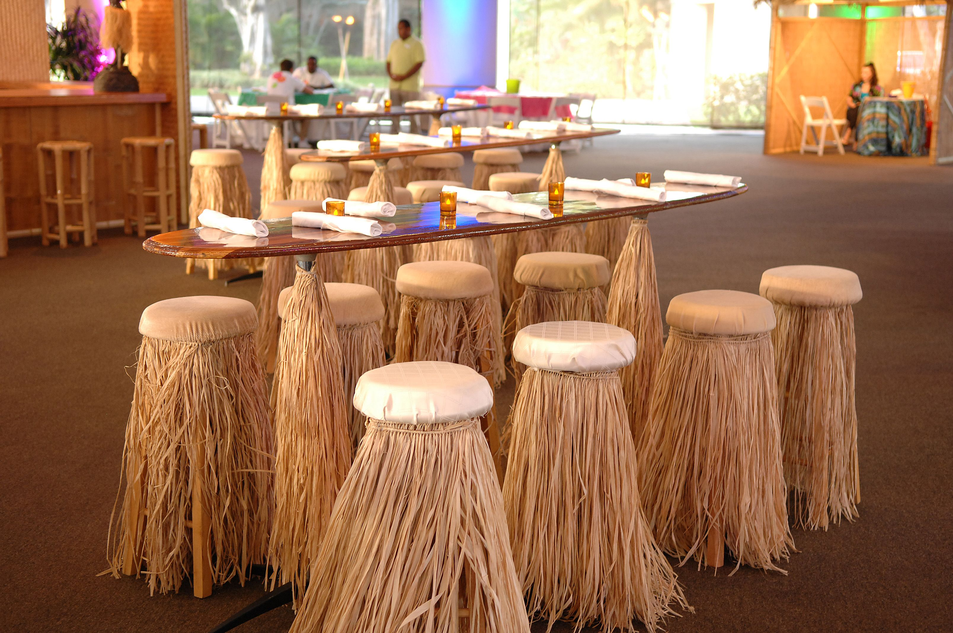 wedding chair covers hawaii picture frame surf boards as cocktail tables and grass skirts