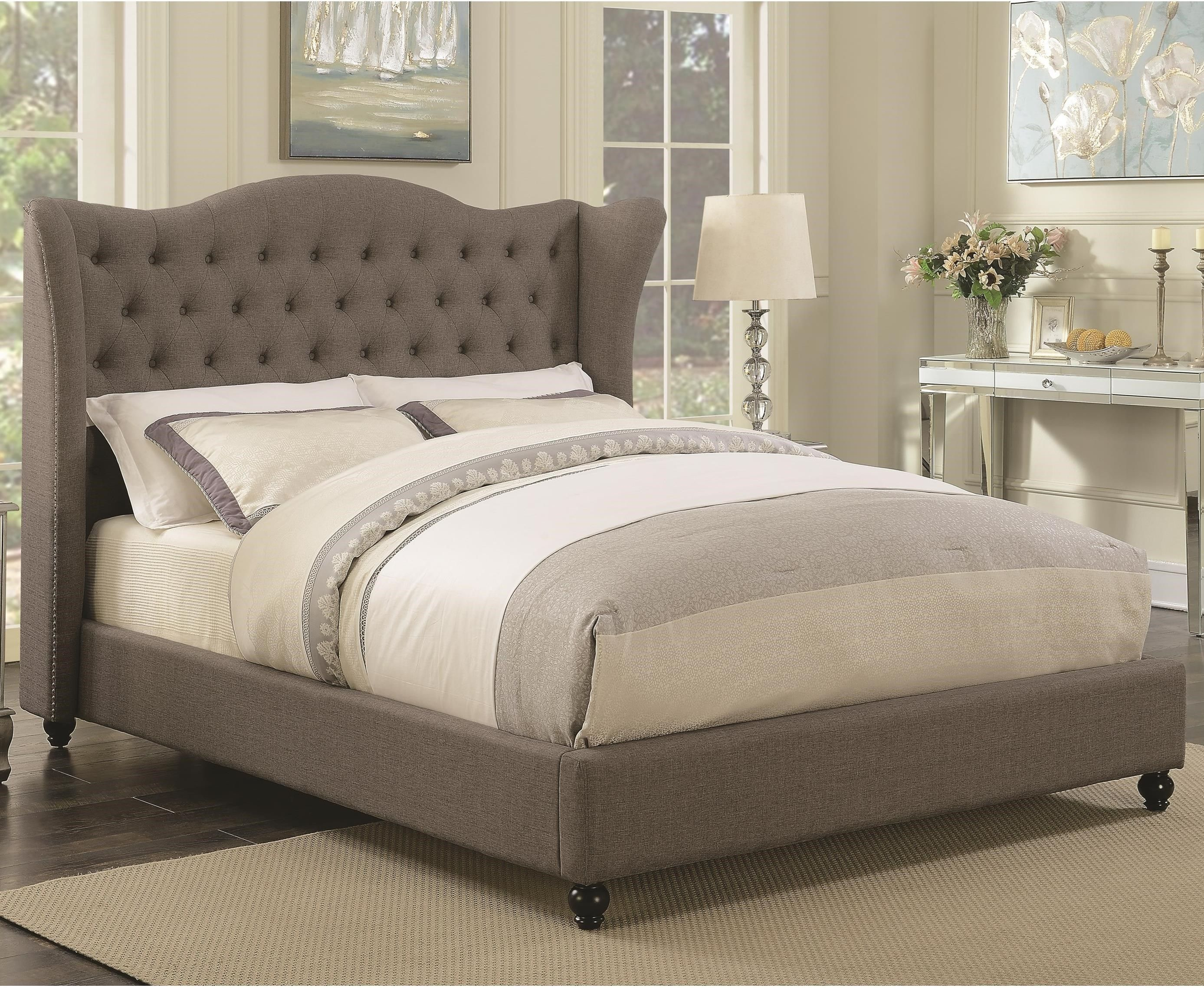 Coaster Newburgh King Upholstered Bed With Button Tufted Headboard