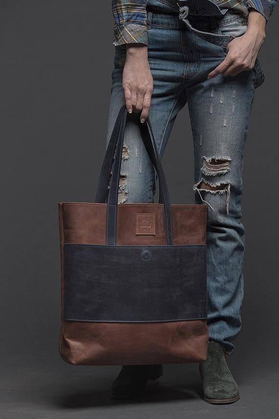 Bolso tote de cuero, mujer bolsa de cuero, bolso de comprador, bolso de hombro, bolso de cuero marrón, regalo de esposa, regalo de novia, idea de regalo para mujer