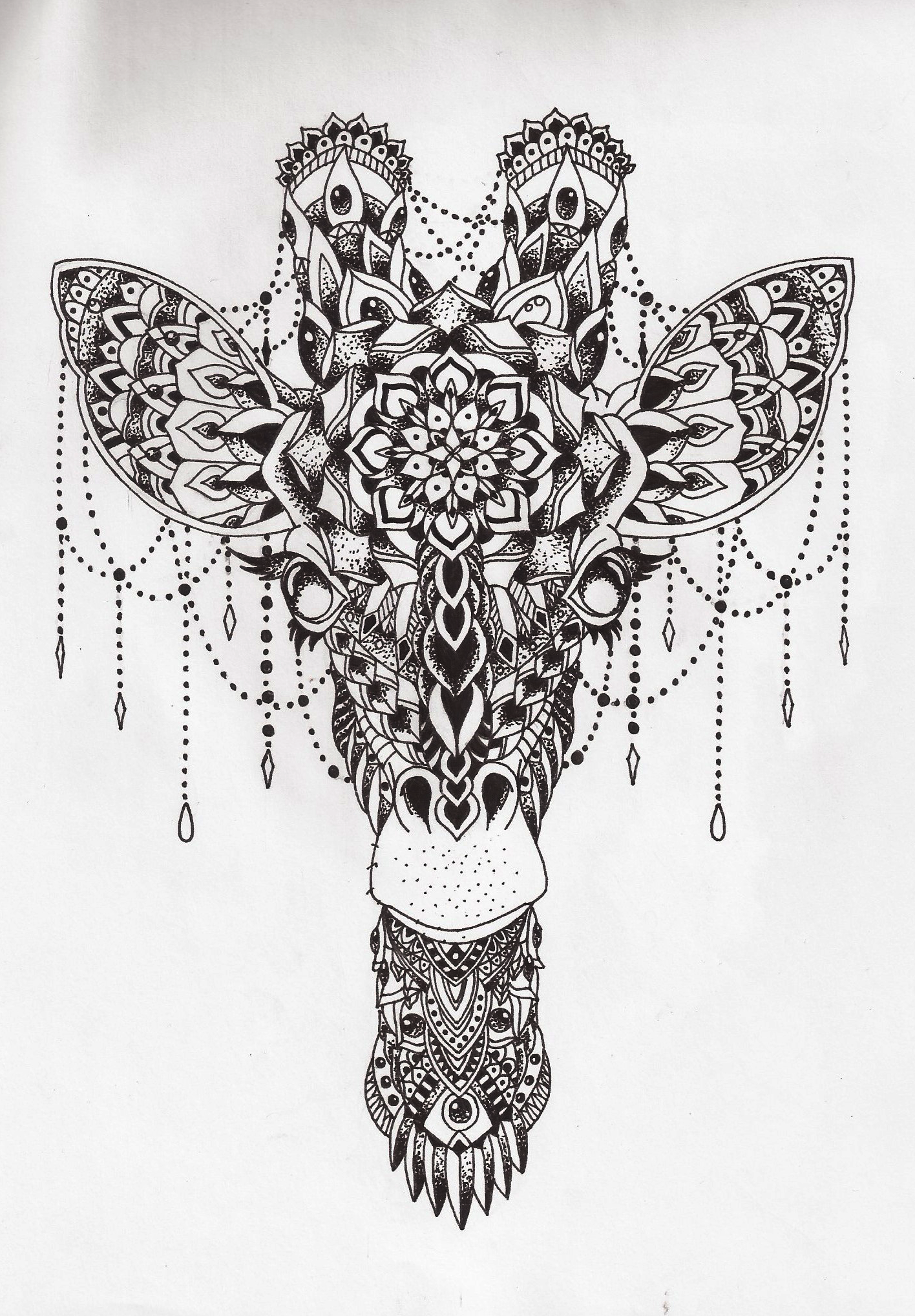 Girafa pontilhismo mandala por jo o batista for Giraffe mandala coloring pages