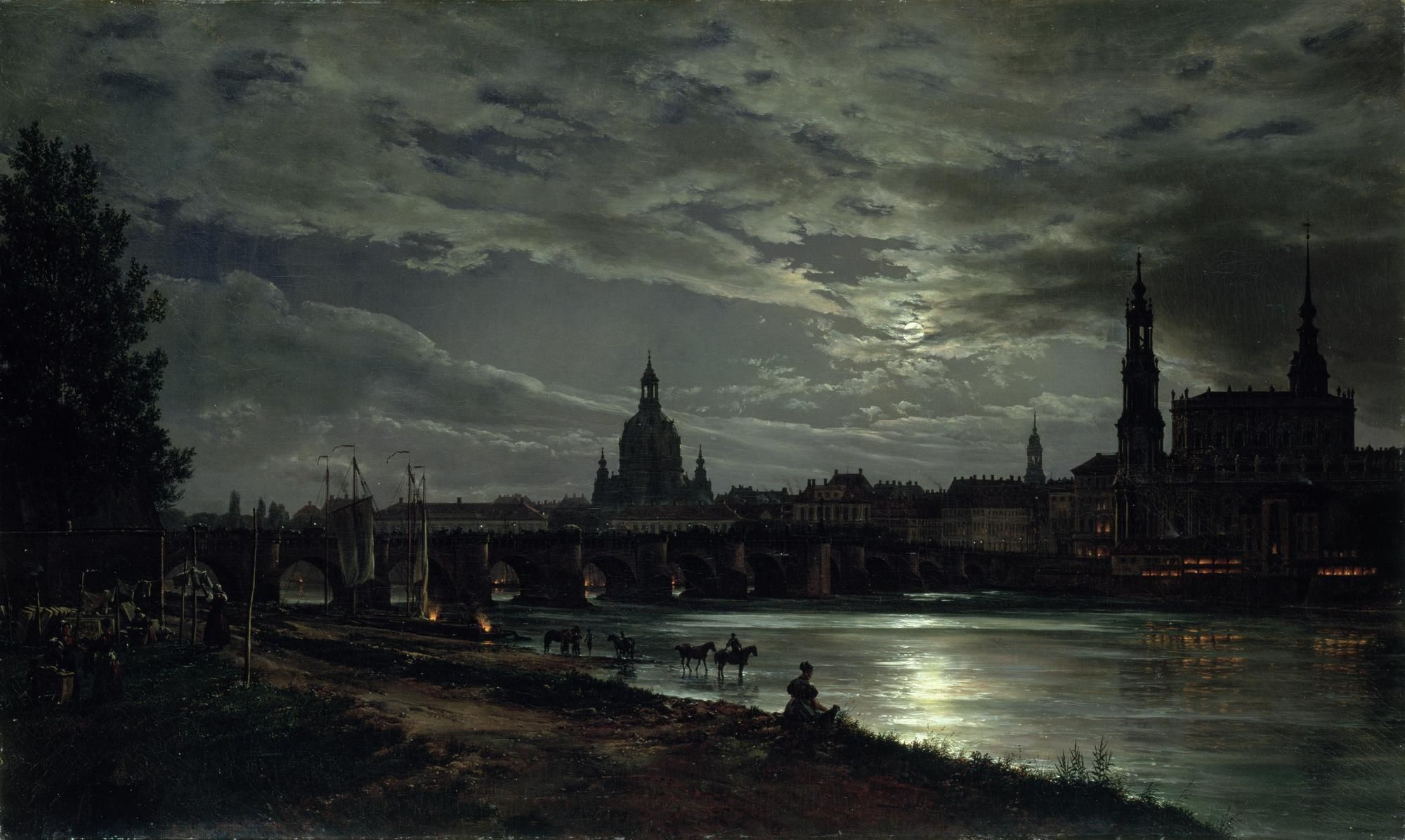 Johan Christian Dahl - View of Dresden in the moonlight (con ...