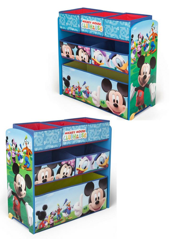 Mickey Mouse Kinderzimmerregal Mit 6 Spielzeugkisten Aus Stoff