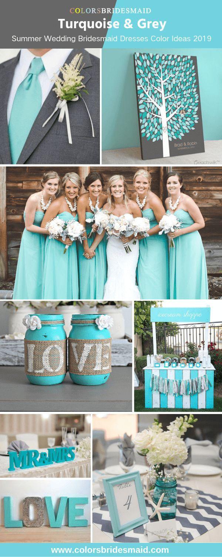 Zomer bruidsmeisjesjurken kleurideeën 2019, turkoois en grijs, turkoois …
