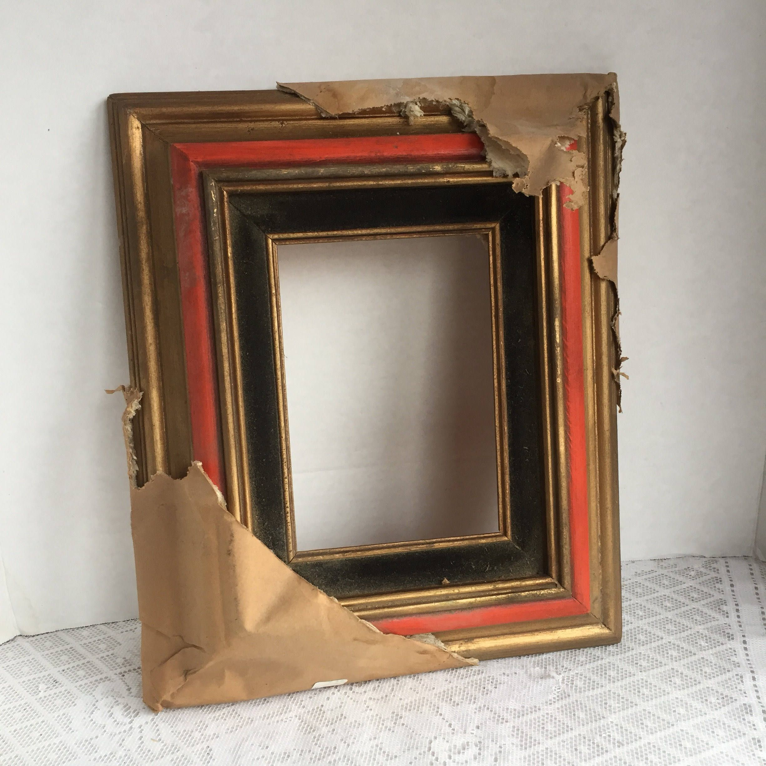 Vintage Wooden Frame / 5 X 7 Red and Gold Frame / Made in Mexico by ...