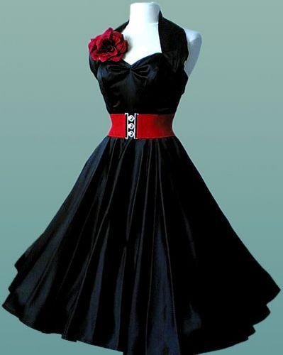 Vivien of Holloway 1950 Halterneck Black Satin Dress