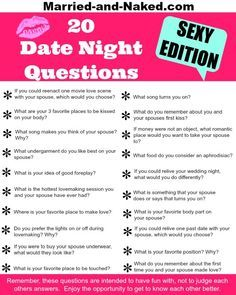 20 Sexy Date Night Questions Free Printable Words