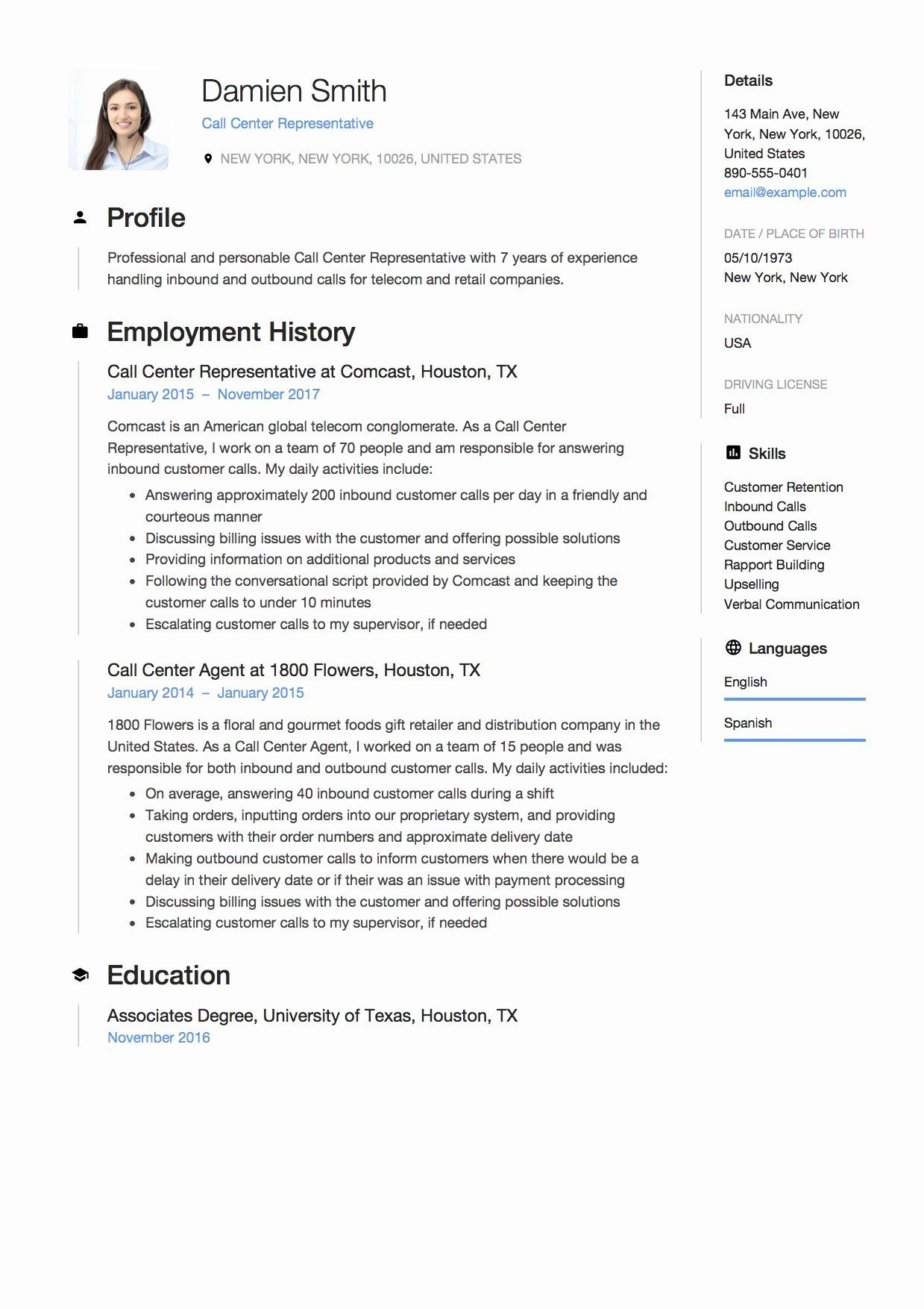 20 Customer Service Call Center Resume in 2020 Resume