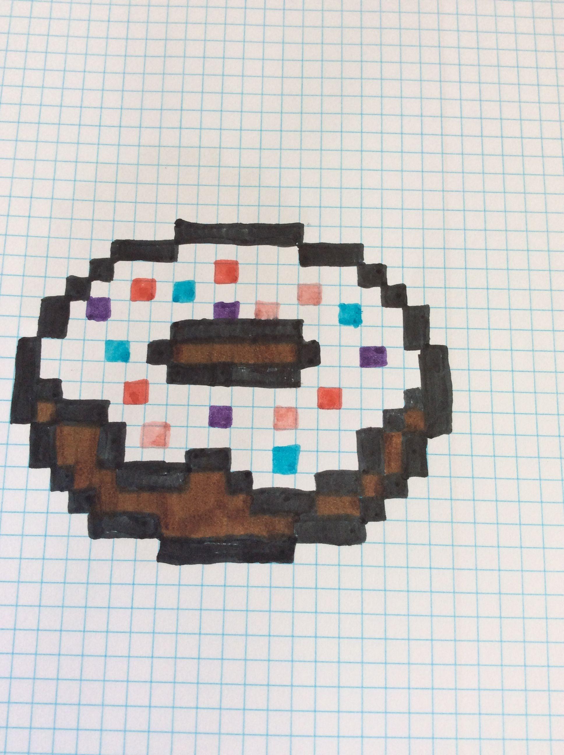 рисунки картинки по клеточкам пончик