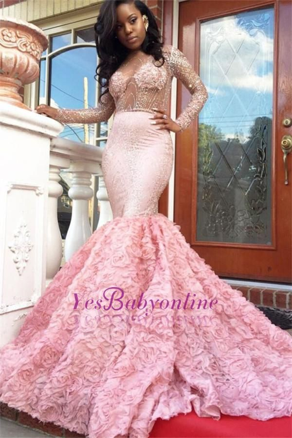 Luxury Pink Mermaid Prom Dresses Sheer Beading Long Sleeves Floral ...