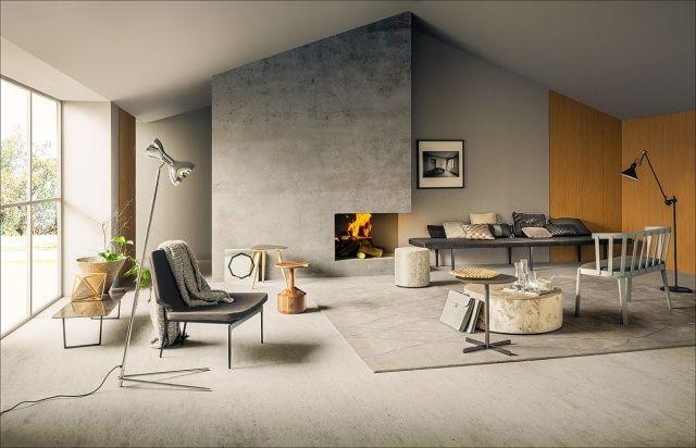 minimalistischer wohnraum-mit indoor-kamin eingebaut-verglasung - wohnzimmer ideen mit kamin