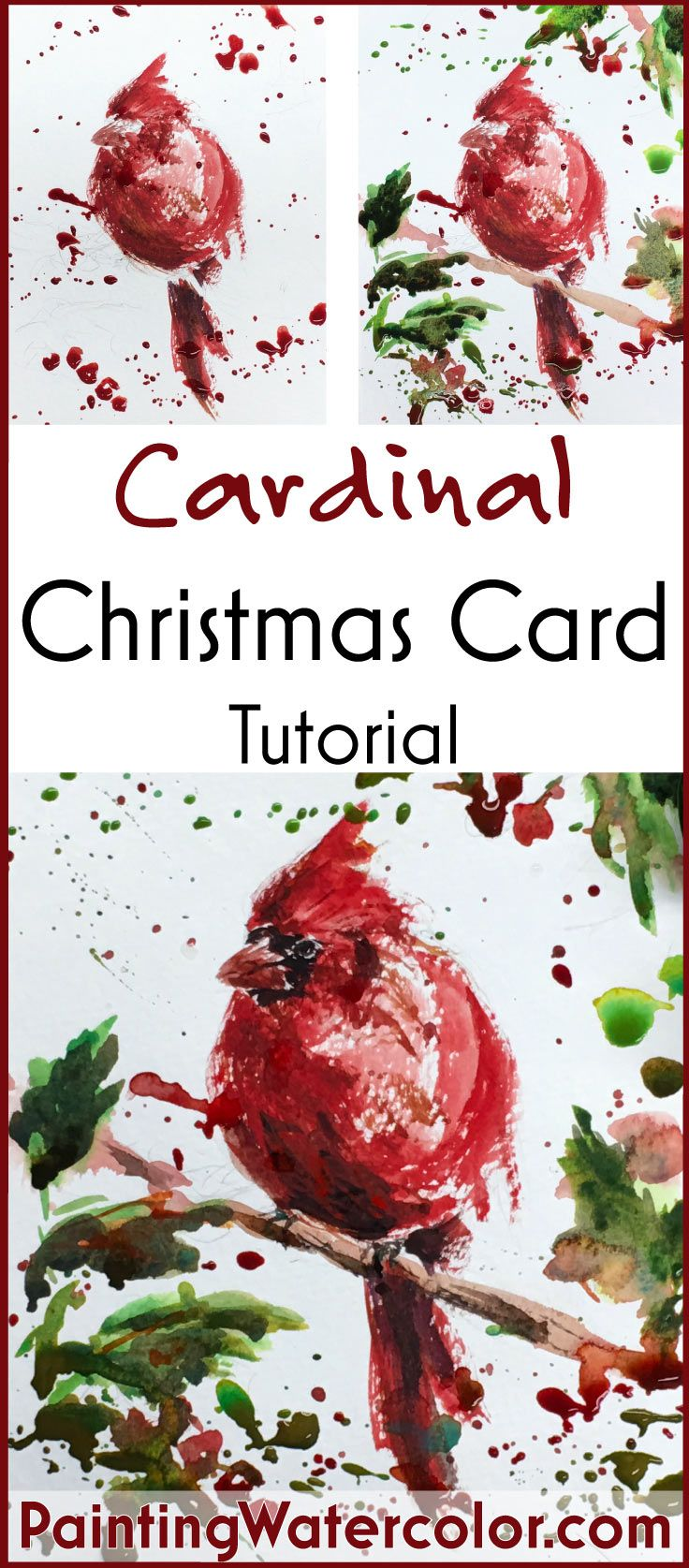 Learn to paint a cardinal Christmas Card! Watercolor