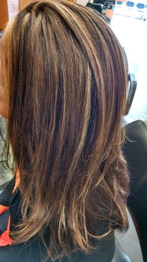 Highlight To Cover Grey Long Brunette Hair Hair Highlights Transition To Gray Hair