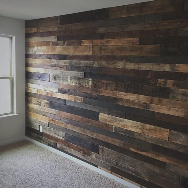 Really Want To Do As An Accent Wall In My Kitchen To Cover Up The Old Style  Fake Wood Wall DIY Rustic Pallet Wood Wall Pallet Furniture DIY