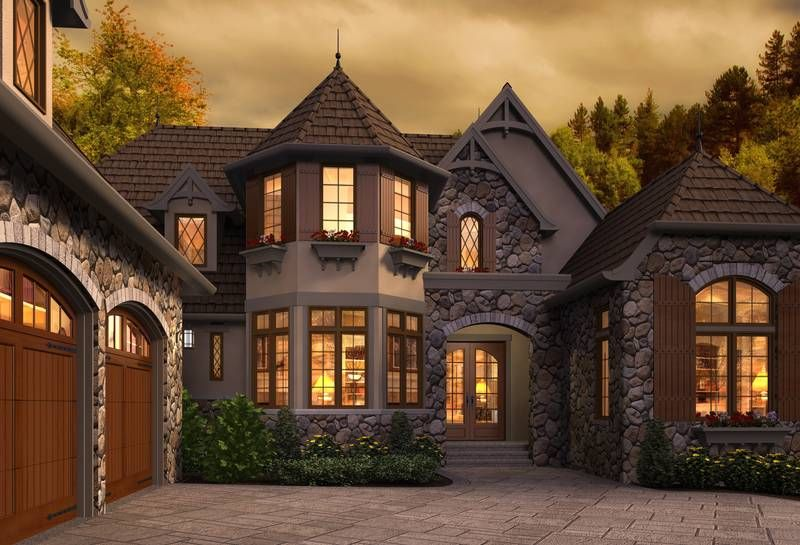 Front Rendering of Mascord Plan 2470 - The Rivendell Manor