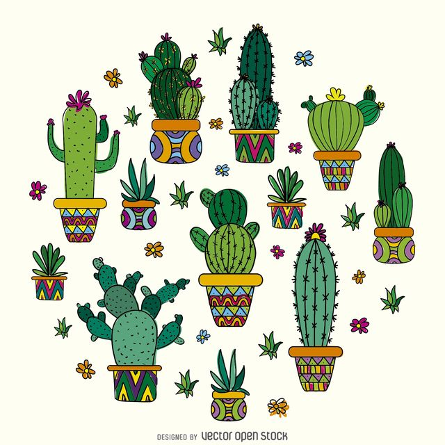 Trendy cactus pattern done in thin soft colored stroke features different kinds of cactus on decorated pots lovely for vegetable gardens business