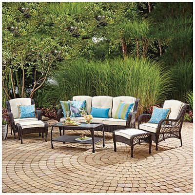 wilson fisher barcelona 6 piece resin wicker outdoor sofa set