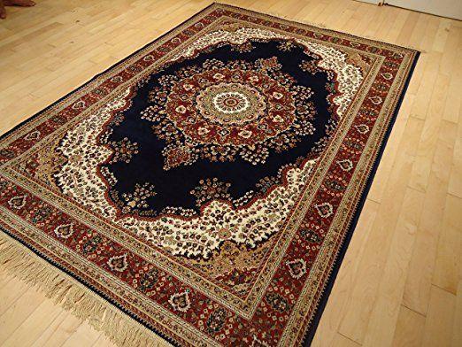 amazoncom silk persian tabriz navy 5x8 rug high density shiny 5x7 navy area - 5x8 Rugs