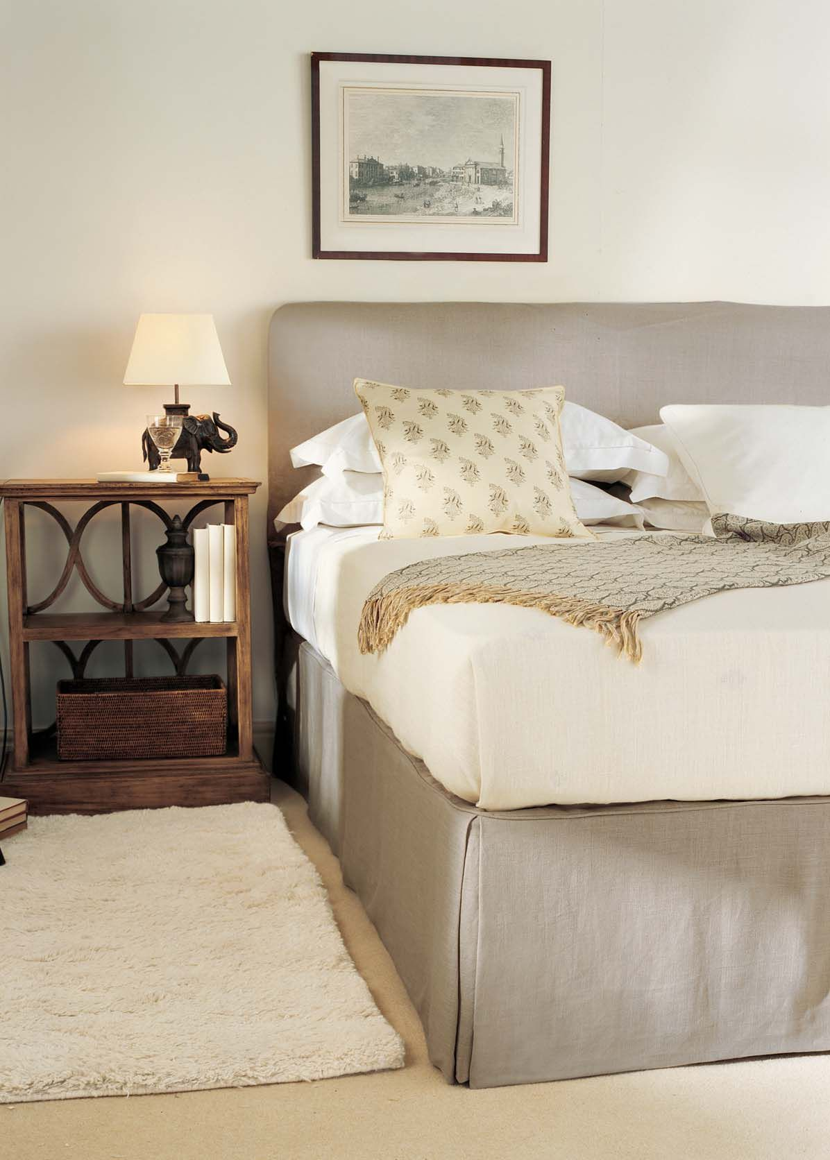 Natural linen headboard cover and valance by OKA. | Decor tips ...