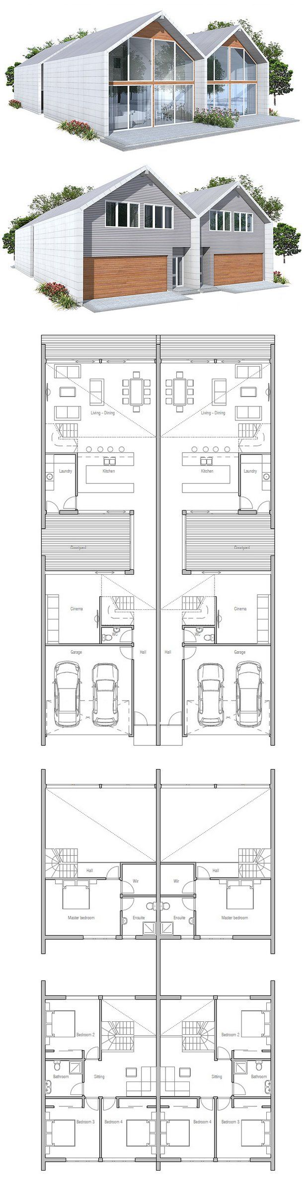 Duplex house plan to narrow lot 2 bed plans for Narrow duplex plans