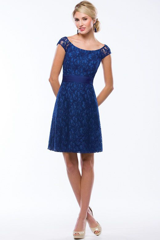 Cap Sleeves Short Knee Length Royal Blue Lace Bridesmaid Dress ...