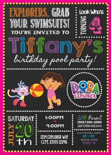Dora The Explorer Pool Party Birthday Invitation