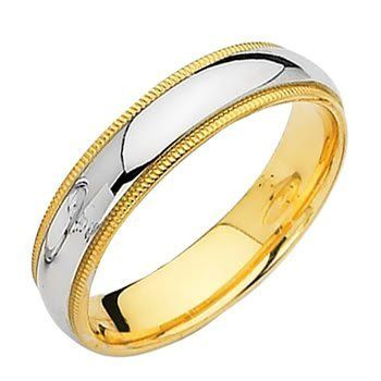 Laser Engraving Service 14k Yellow And White 2 Two Tone Gold 5mm Milgrain Wedding Band Ring For Rings For Men Milgrain Wedding Bands Wedding Ring Bands