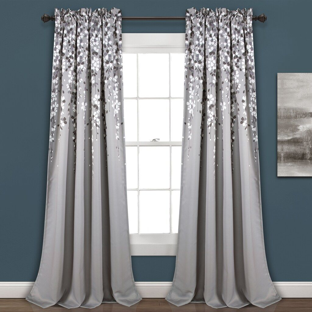 Half Moon 2 Pack Weeping Flowers Window Curtains In 2020 Panel Curtains Lush Decor Curtains Living Room