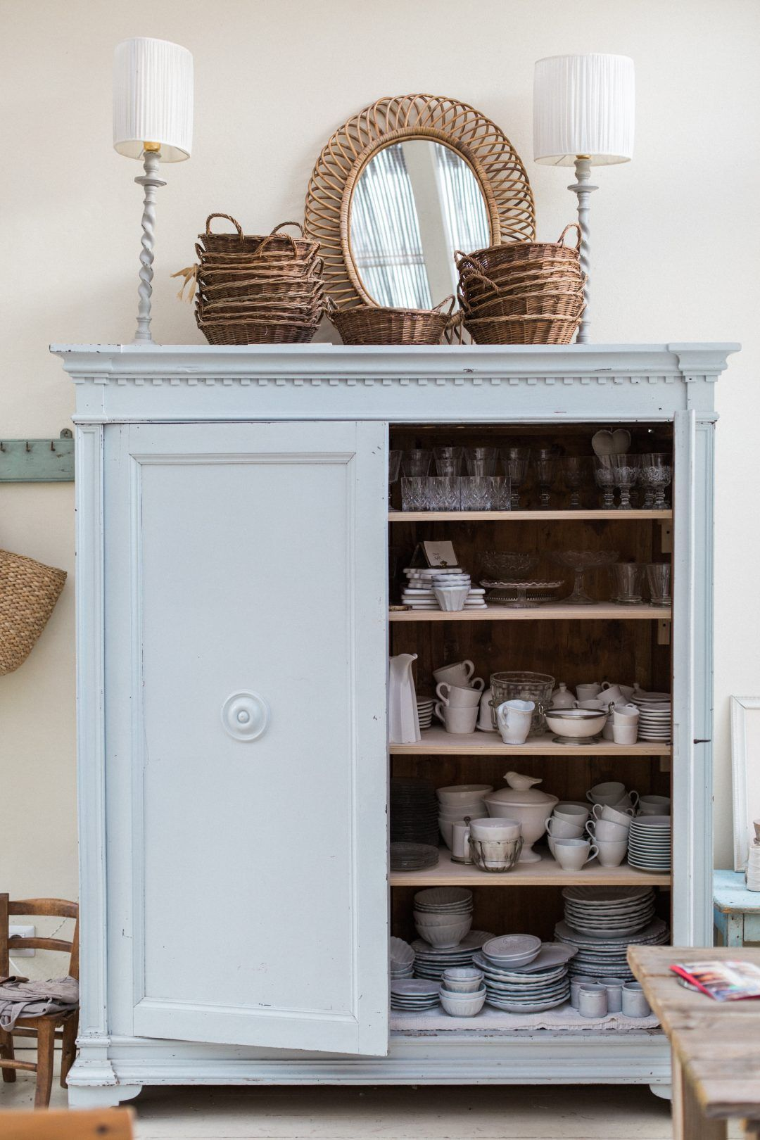 Displaying Collected Dishes - lovely painted cabinet holds ...