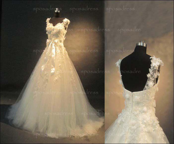 lace wedding dress A line wedding dress off shoulder by sposadress, $299.00