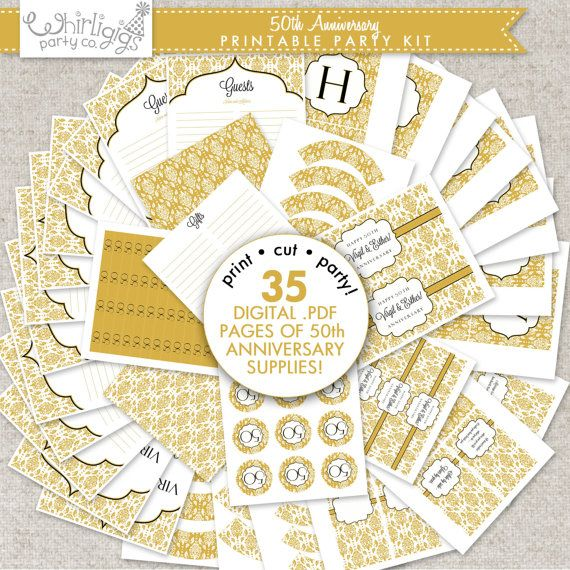 50th golden anniversary printable party 50 anniversary for 50th birthday decoration packages