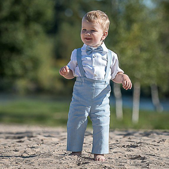 b7e2db8f8 Baby boy light blue outfits Boy suspenders suit Ring bearer linen ...