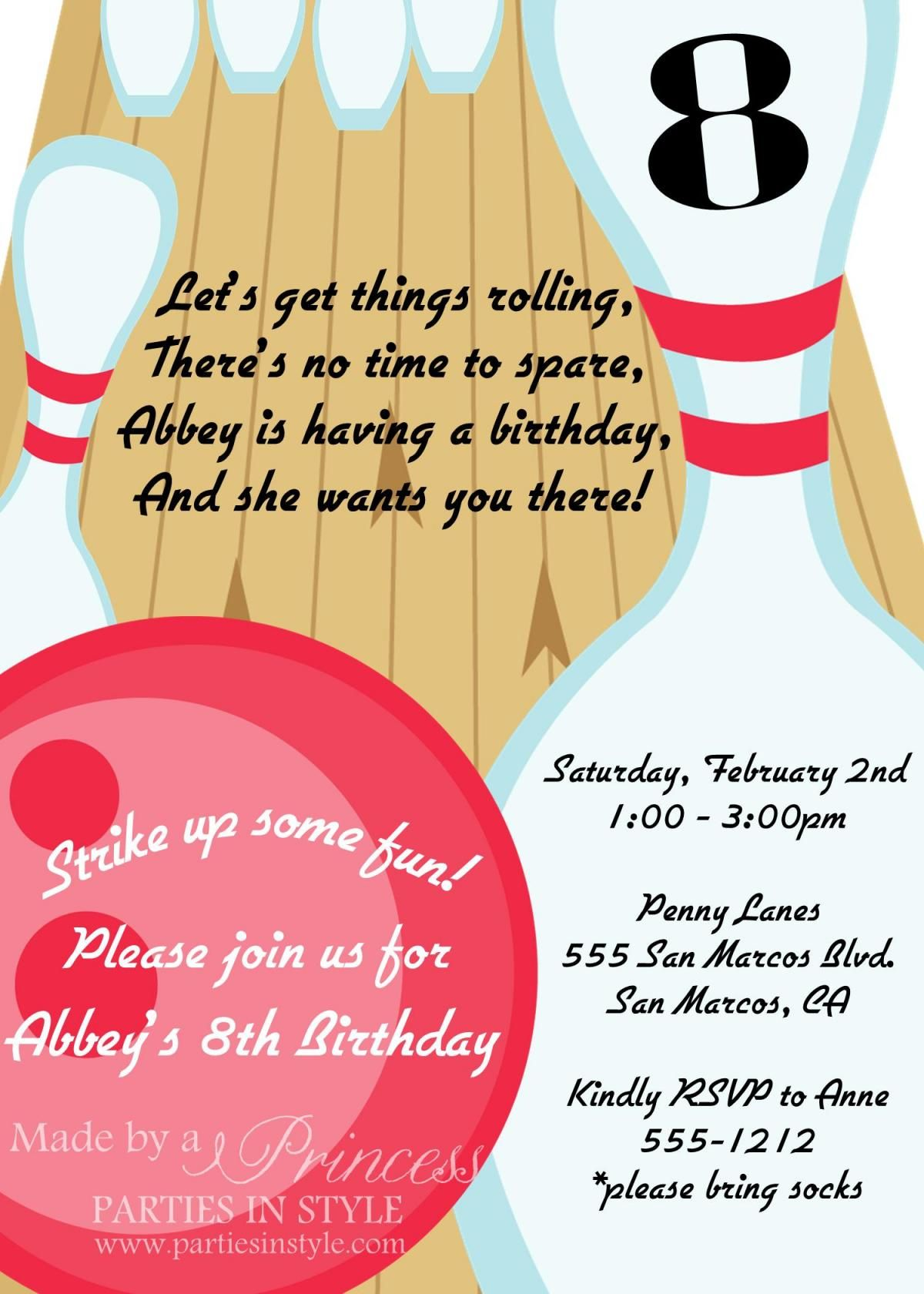 Bowling Birthday Party Printable Invitation DIY