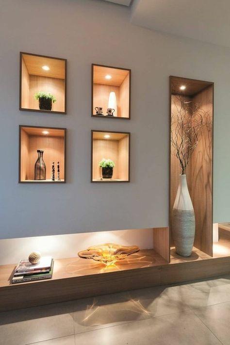 décoration-niche-murale-mur-gris-décoratif-avec-éclairage ...