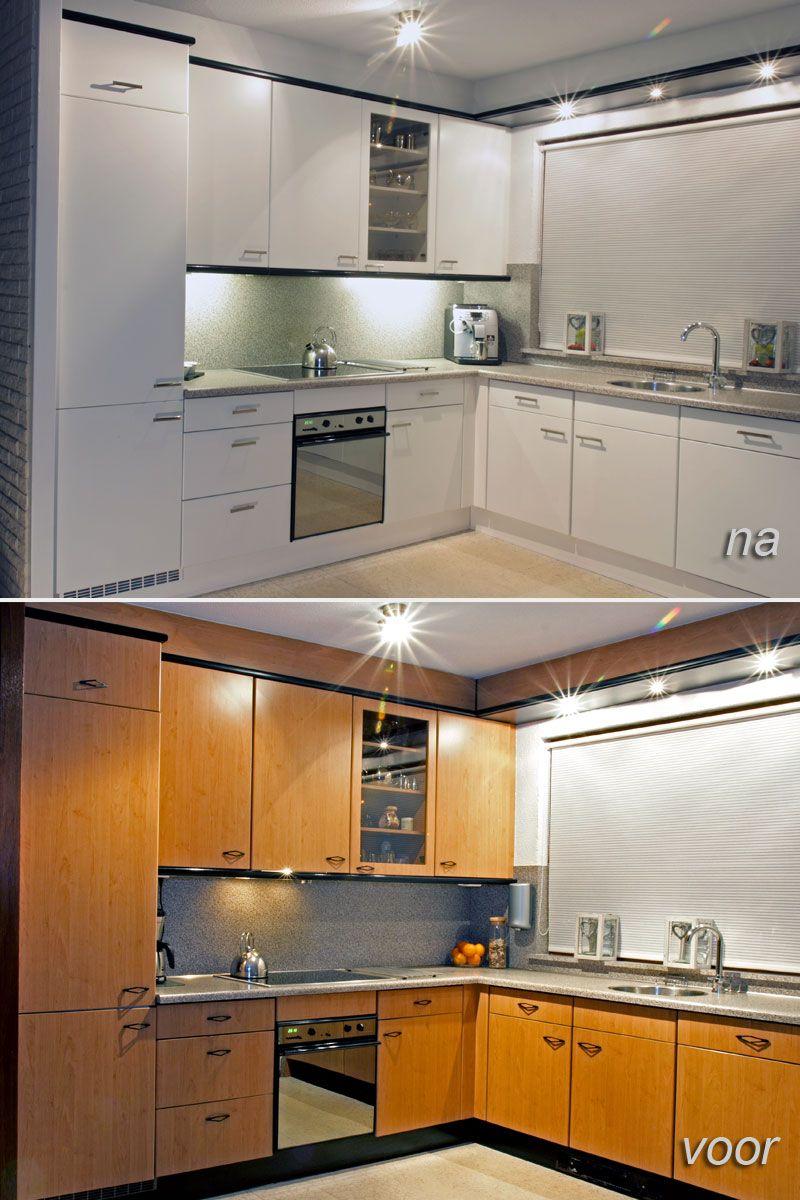 Kunststof Keukenkastjes En De Vaste Delen Voor En Na Het Opnieuw Verven En Spuiten Keuken Pimpen Keukenkastjes Keuken