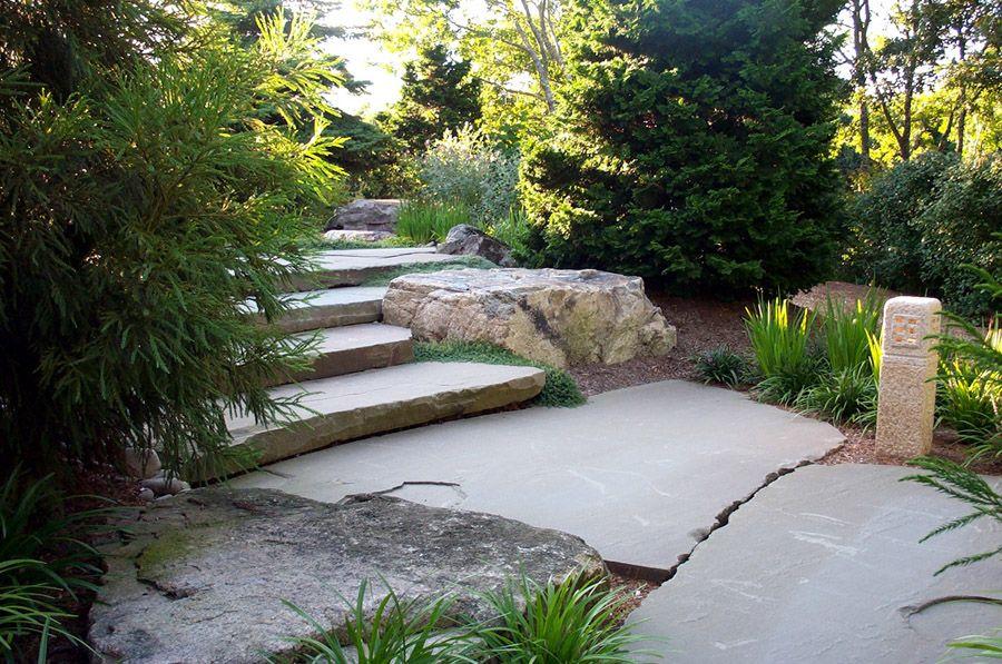 stone slab stairway with rock landing