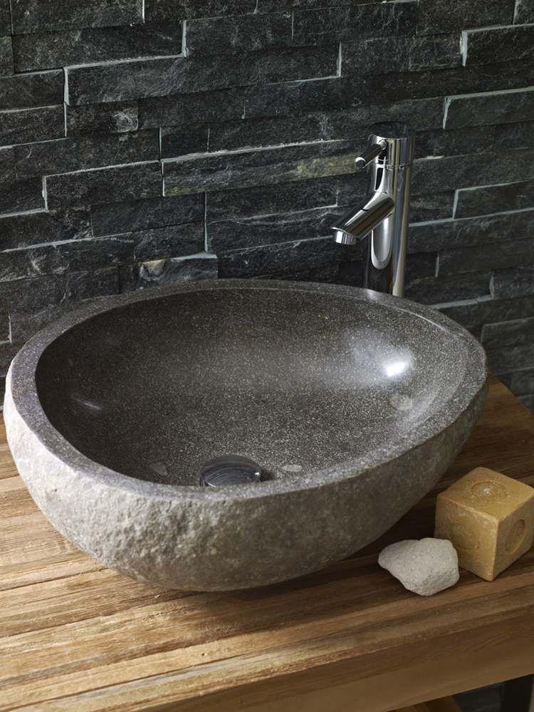 Waschbecken rund stein  Waschbecken aus Stein - ovaler Aufsatzwaschbecken aus Adesit ...
