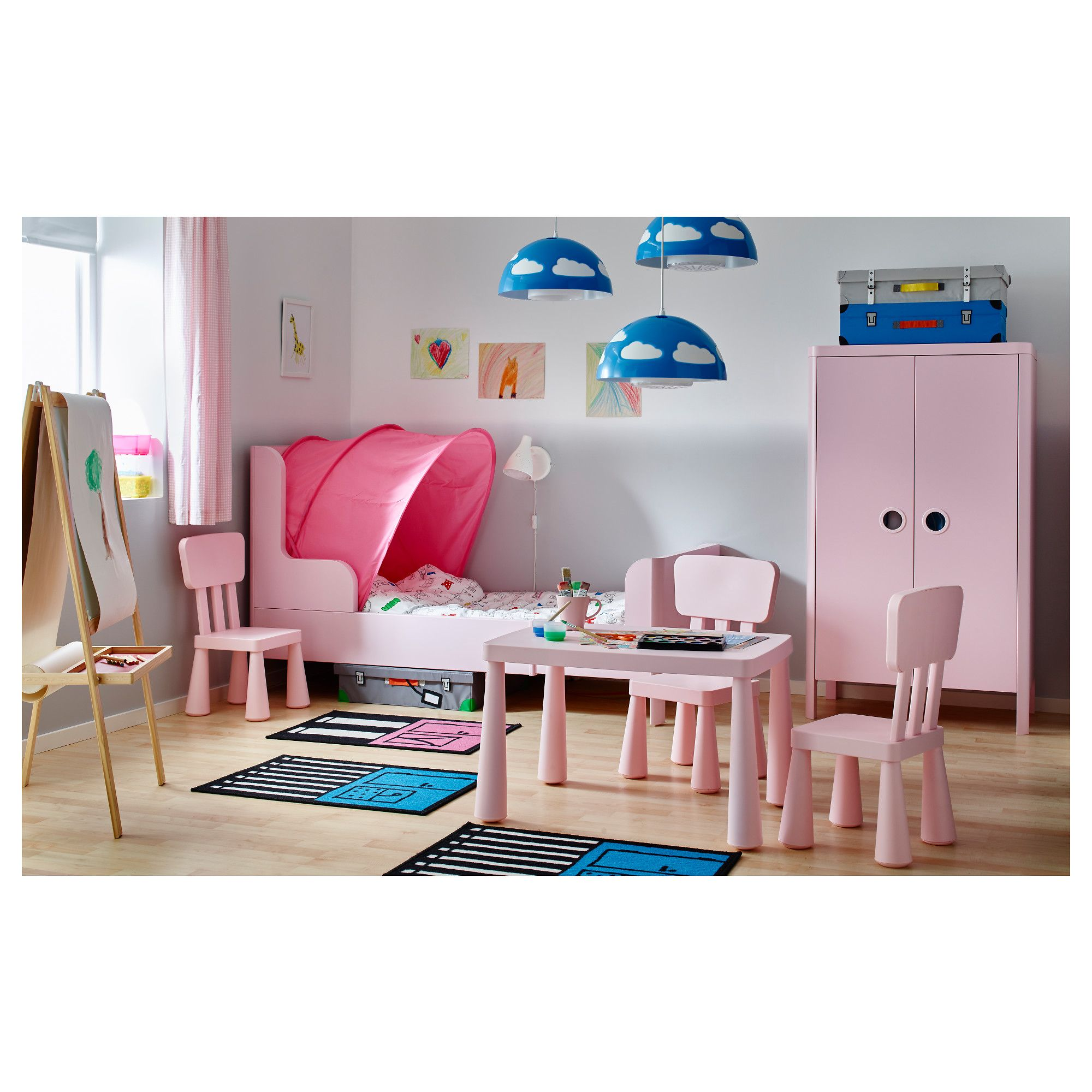 BUSUNGE Extendable bed Light pink 80x200 cm | Lights, Toddler girl ...