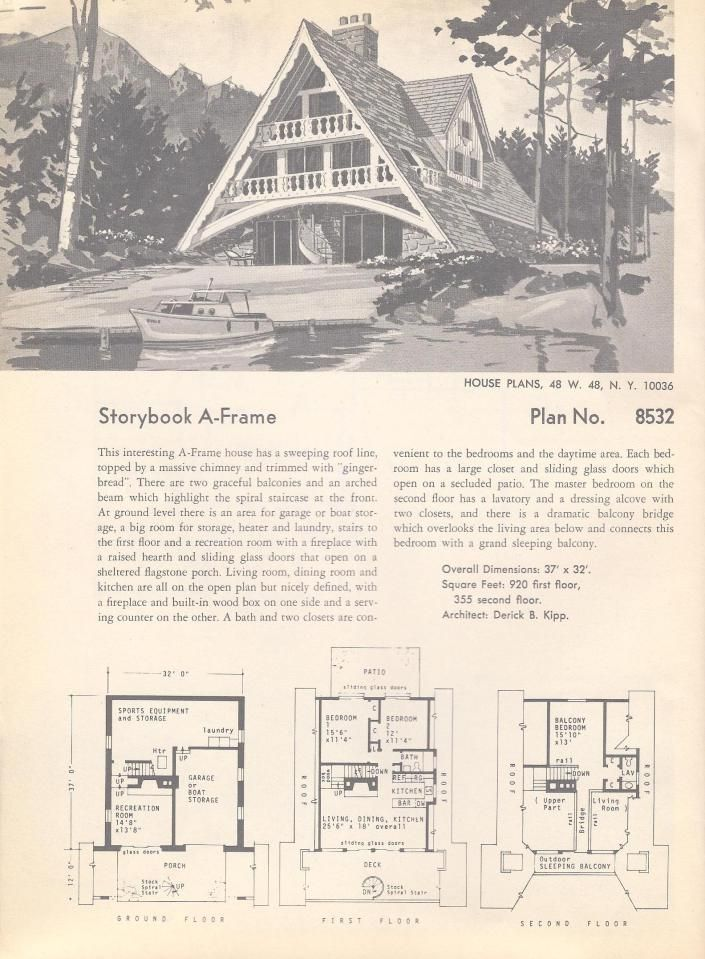 Storybook A Frame Vacation House Plans Vintage House Plans A Frame Cabin Plans