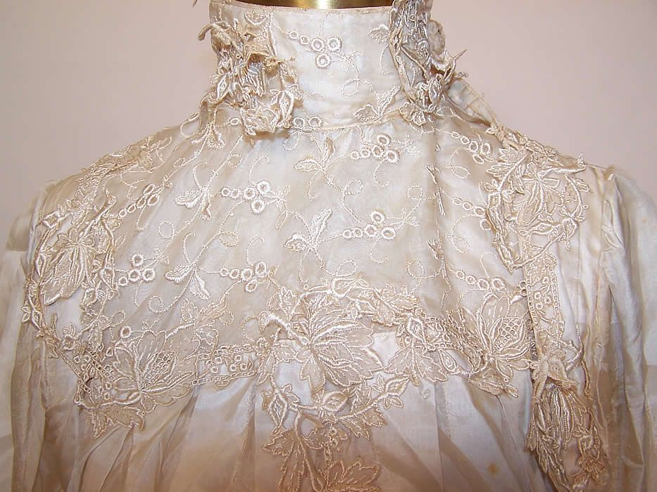 Lace and embroidered bodice of Edwardian Wedding gown - Vintage Textiles