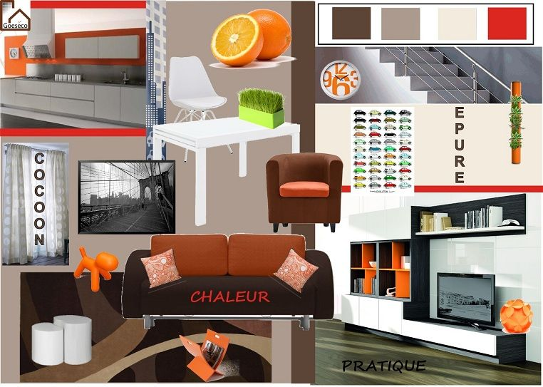 s jour salle manger orange bis planches d 39 ambiance. Black Bedroom Furniture Sets. Home Design Ideas