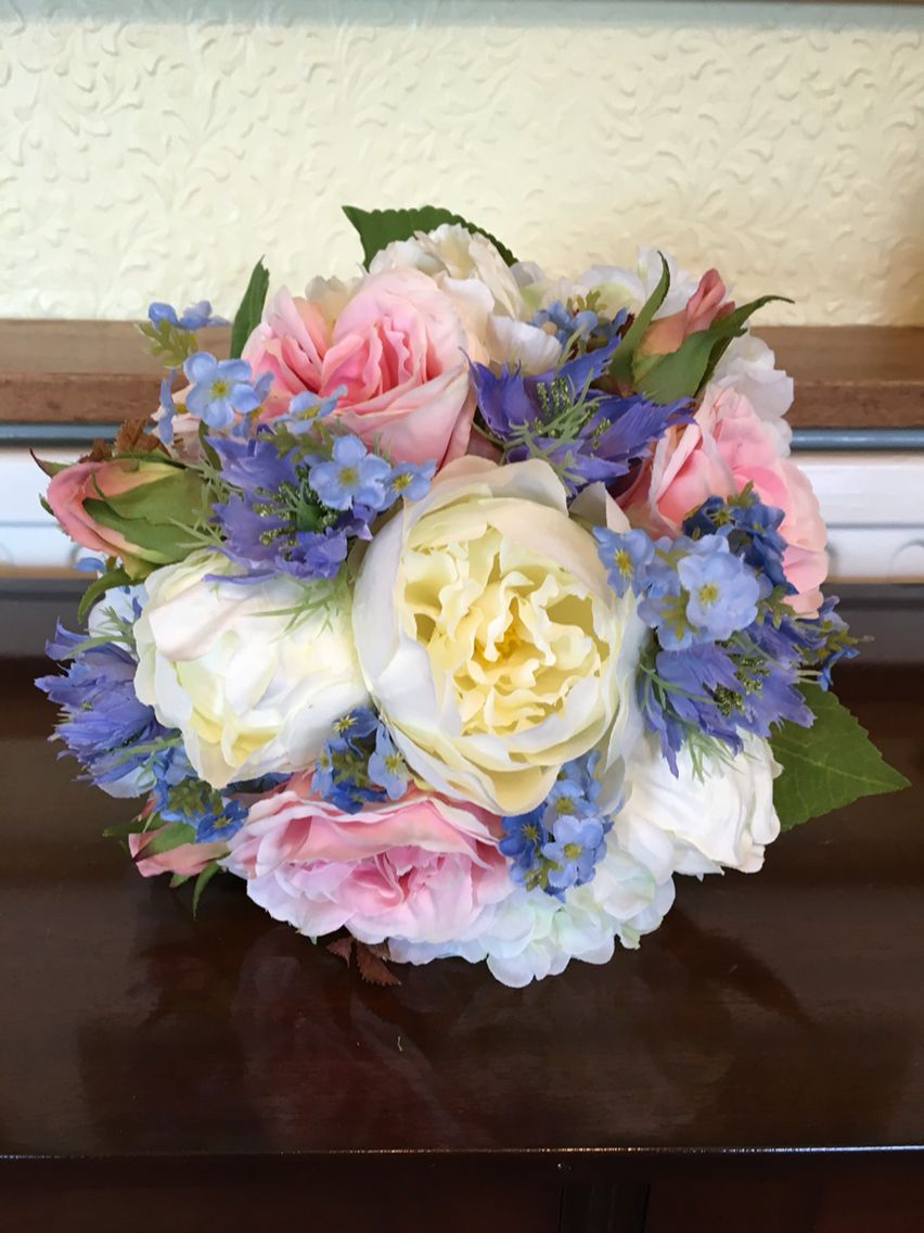 Rustic County Style Artificial Wedding Bouquet Including Pink Blue