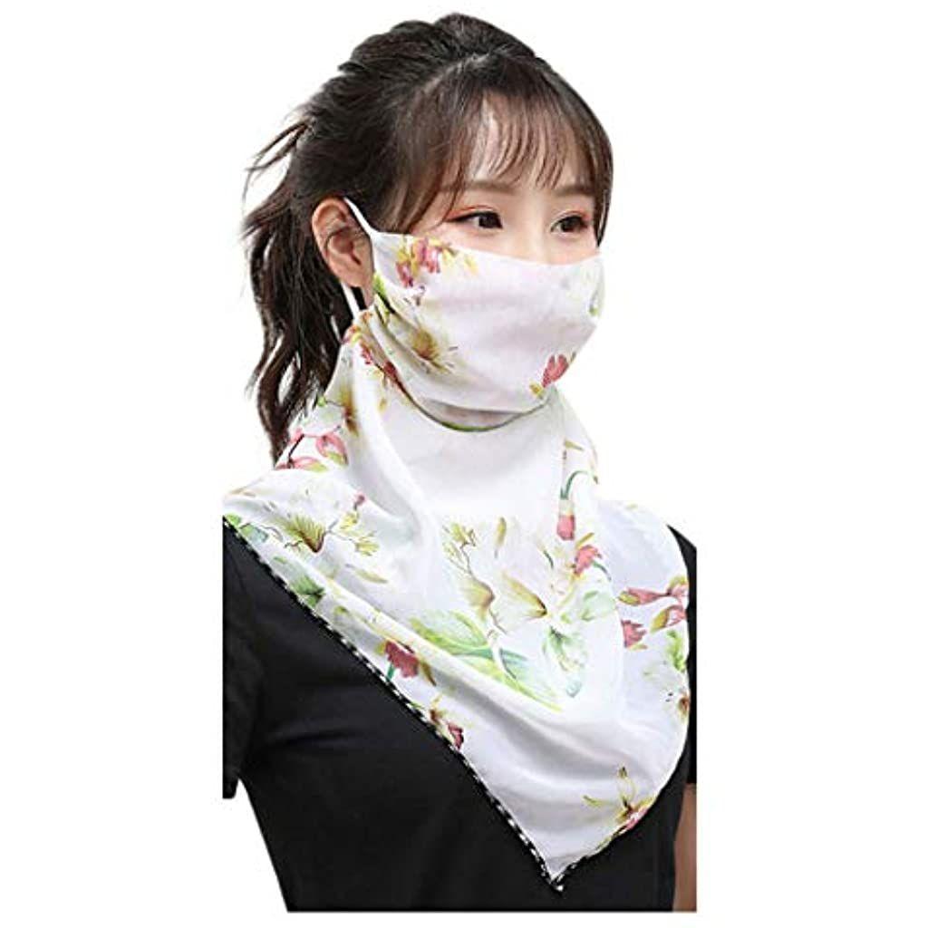 riou Damen Halstuch Mundschutz Multifunktionstuch Face Shield Bandana Sommer UV-Schutz Atmungsakti Gesichtsmaske Chiffon Tuch