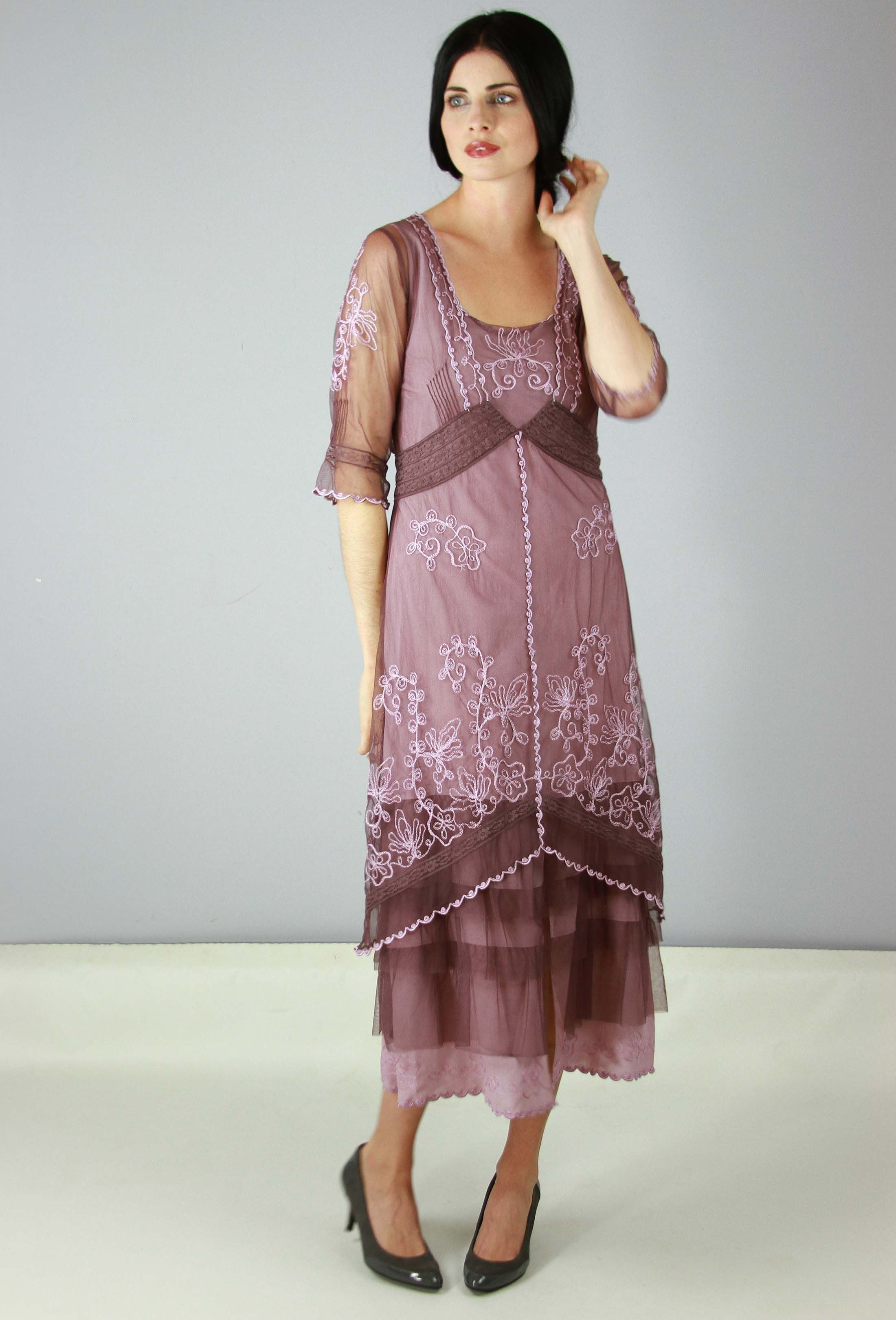 c7e1f6a7f24 Buy Vintage Style Tea Length Dresses at the Wardrobe Shop - The Wardrobe  Shop. 1920s Plus Size Dress  Titanic Tea Party Dress in Mauve by Nataya   229.00 AT ...